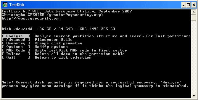 بازگردانی قدرتمند اطلاعات, تعمییر خرابی های هارد و مموری کارت با TestDisk